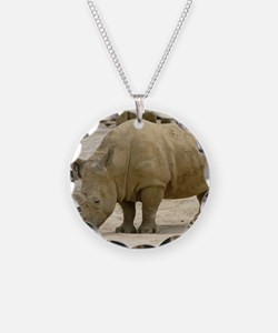 rhino 1 Necklace Circle Charm