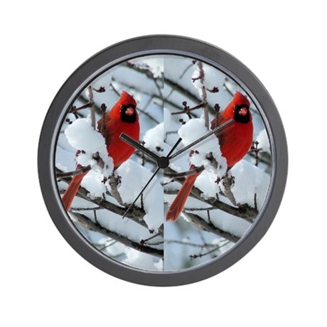 Cardinal Winter Wall Clock