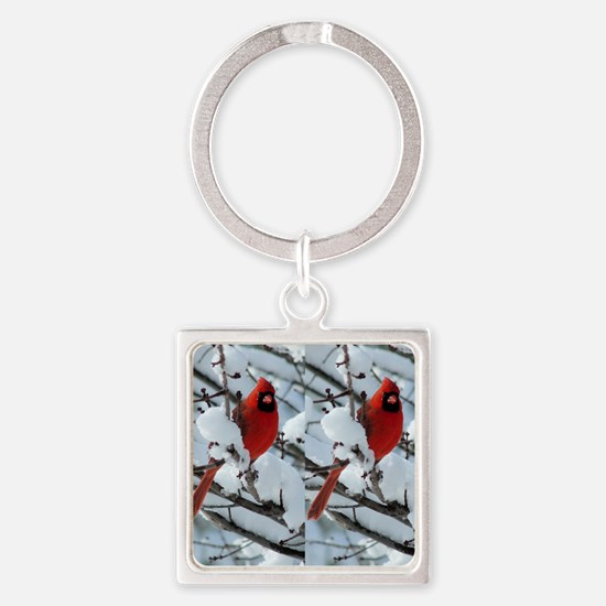 Cardinal Winter Square Keychain