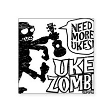 "Uke Zombie Square Sticker 3"" x 3"""