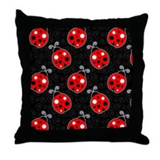 Red Ladybug Flip Flops Throw Pillow