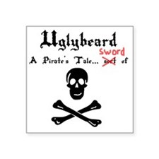 "Uglybeard Logo Black Letter Square Sticker 3"" x 3"""