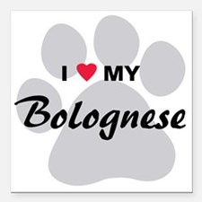 "I Love My Bolognese Square Car Magnet 3"" x 3"""