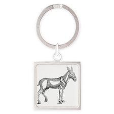 Mule Donkey Vintage Square Keychain