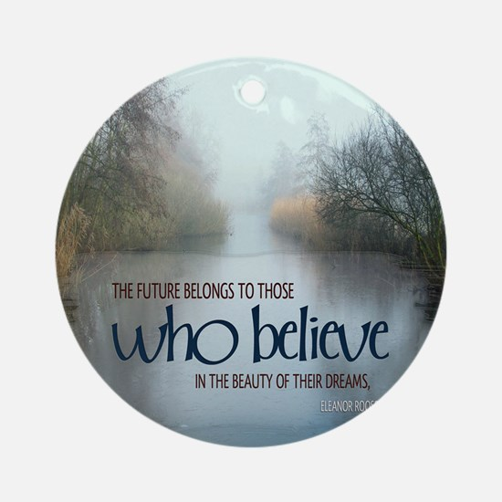 Dreams Quote on Tile Coaster, Keeps Round Ornament