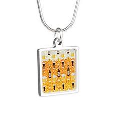 Beer Flip Flops Silver Square Necklace