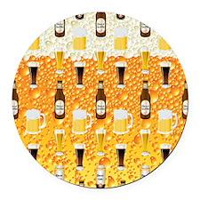 Beer Flip Flops Round Car Magnet