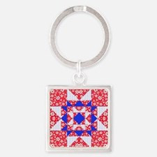 Red White  Blue Floral and Dots Fr Square Keychain