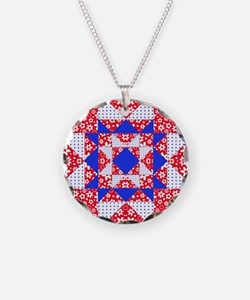 Red White  Blue Floral and D Necklace