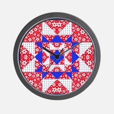 Red White  Blue Floral and Dots Frame Wall Clock