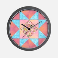 Sunset and Water Quilt Square Wall Clock
