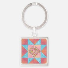 Sunset and Water Quilt Square Square Keychain
