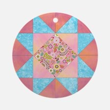 Sunset and Water Quilt Square Round Ornament