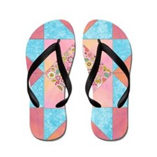 Sunset and Water Quilt Square Flip Flops