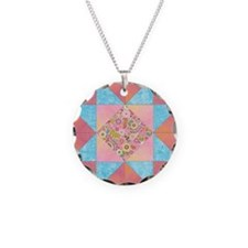 Sunset and Water Quilt Squar Necklace