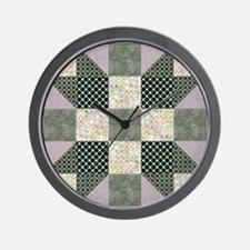 Patch Star Dk Green  Lavender copy Wall Clock