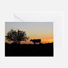 Cow at sundown Greeting Card