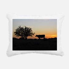 Cow at sundown Rectangular Canvas Pillow