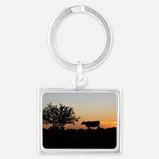 Cow at sundown Landscape Keychain