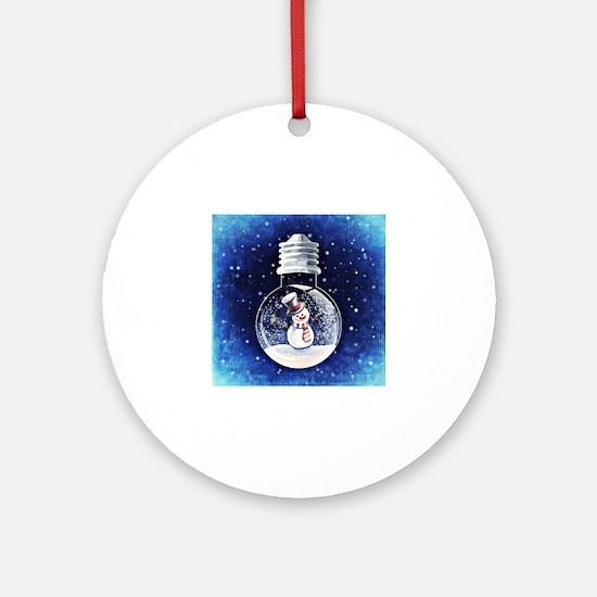 Unique Snow globe Round Ornament