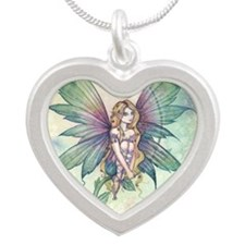 mystic garden square Silver Heart Necklace