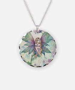 mystic garden square Necklace Circle Charm