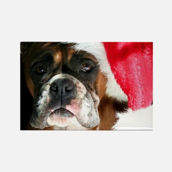 christmas boxer dog Rectangle Magnet