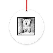 Polar Cub (Black T-shirt) Snowwhite Round Ornament