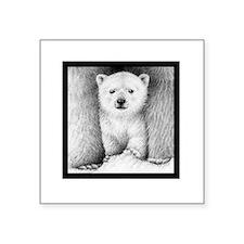 "Polar Cub (Black T-shirt) S Square Sticker 3"" x 3"""