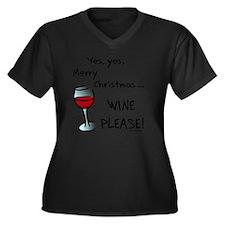 wineplease Women's Plus Size Dark V-Neck T-Shirt