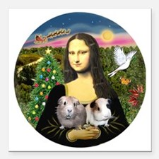 """R-Mona-Two GuineaPigs Square Car Magnet 3"""" x 3"""""""