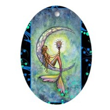 mermaid moon journal Oval Ornament