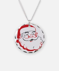 Santa Necklace Circle Charm