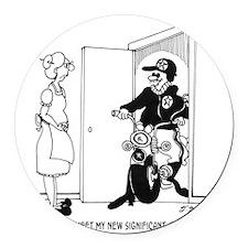 5469_relationship_cartoon Round Car Magnet