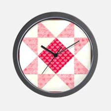 Hearts of Love Quilt Square Red Wall Clock