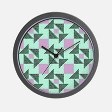 GRANDMOTHERS PUZZLE in Green and Purple Wall Clock