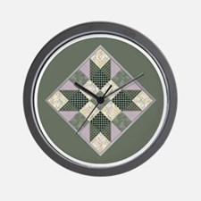 Lavender  Green Patchwork Circle Wall Clock