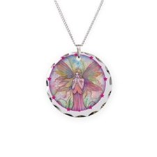 wildflower round with star b Necklace Circle Charm