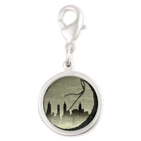 Moon Over Manhattan Silver Round Charm