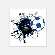 "Soccer Ball Burst Square Sticker 3"" x 3"""