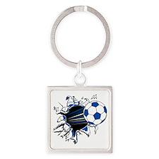 Soccer Ball Burst Square Keychain