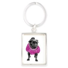 Pug dressd up Portrait Keychain
