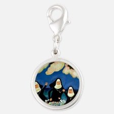 funny nuns catch a wave orname Silver Round Charm