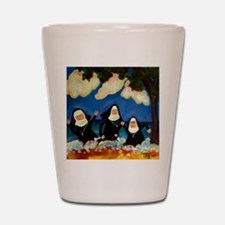 funny nuns catch a wave ornament Shot Glass