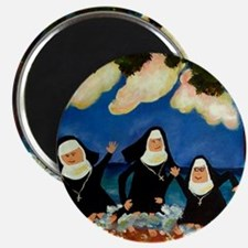funny nuns catch a wave ornament Magnet