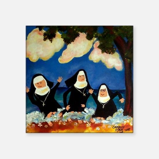 "funny nuns catch a wave orn Square Sticker 3"" x 3"""