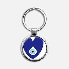 evil eye heart Round Keychain