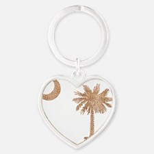 South Carolina Palmetto State Flag Heart Keychain
