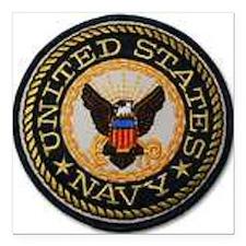 "navy Square Car Magnet 3"" x 3"""