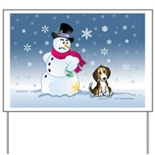 snowmanbeaglecard Yard Sign